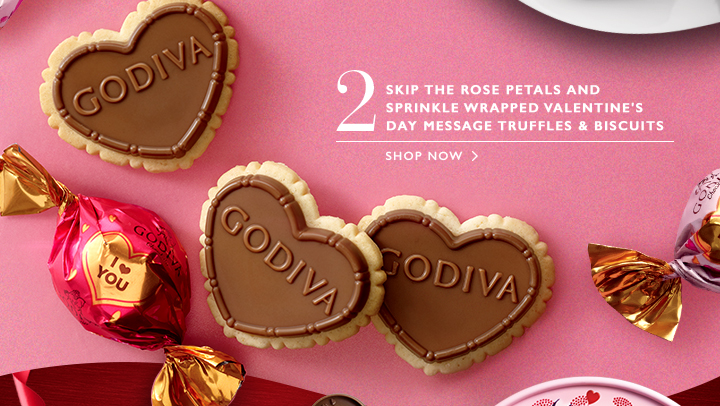 2 SKIP THE ROSE PETALS AND SPRINKLE WRAPPED VALENTINE'S DAY MESSAGE TRUFFLES & BISCUITS  |  SHOP NOW>
